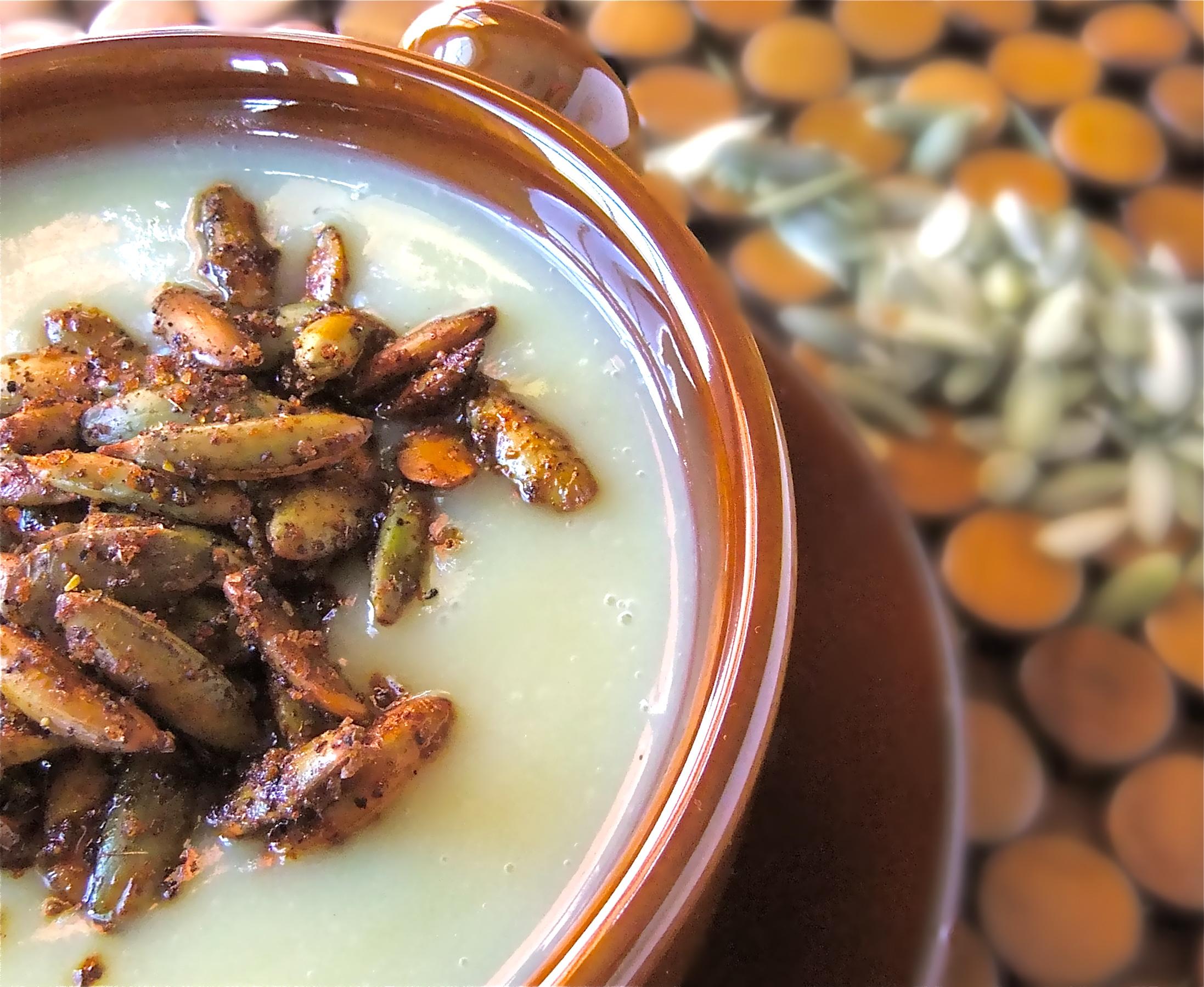 ... -Recipes PART 3: Creamy Celeriac Soup with Spiced Pumpkin Seeds