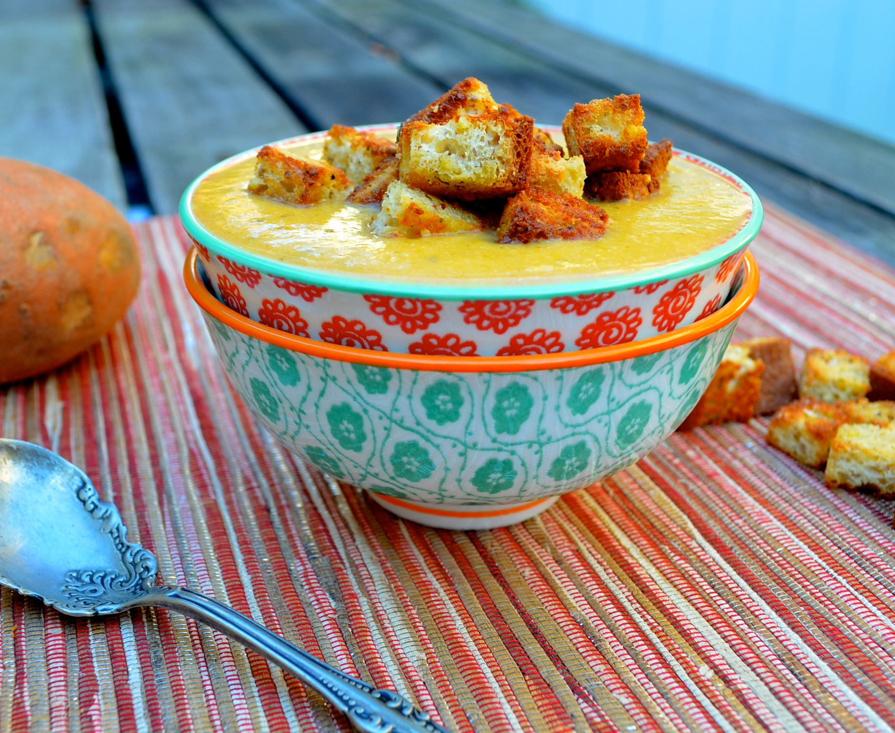 Sweet Potato & Zucchini Soup With Gluten Free Millet-Chia Croutons ...