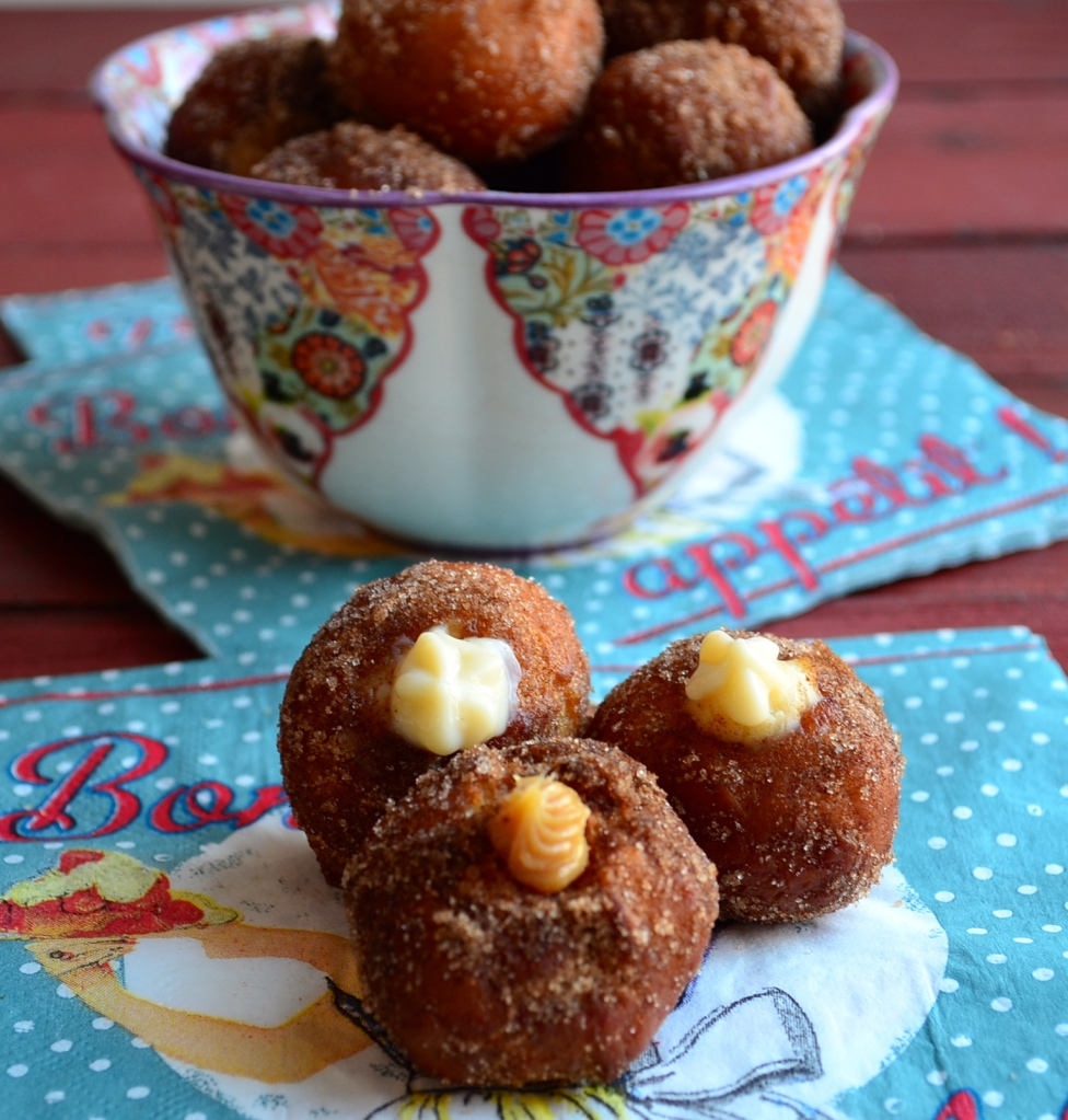dulce de leche and eggnog filled donut holes