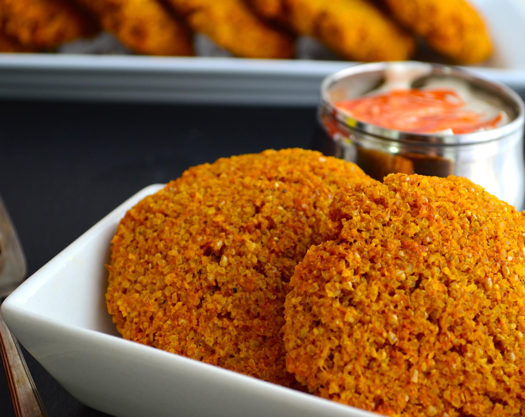 Bulgur Wheat Patties with spicy tahini sauce Recipe
