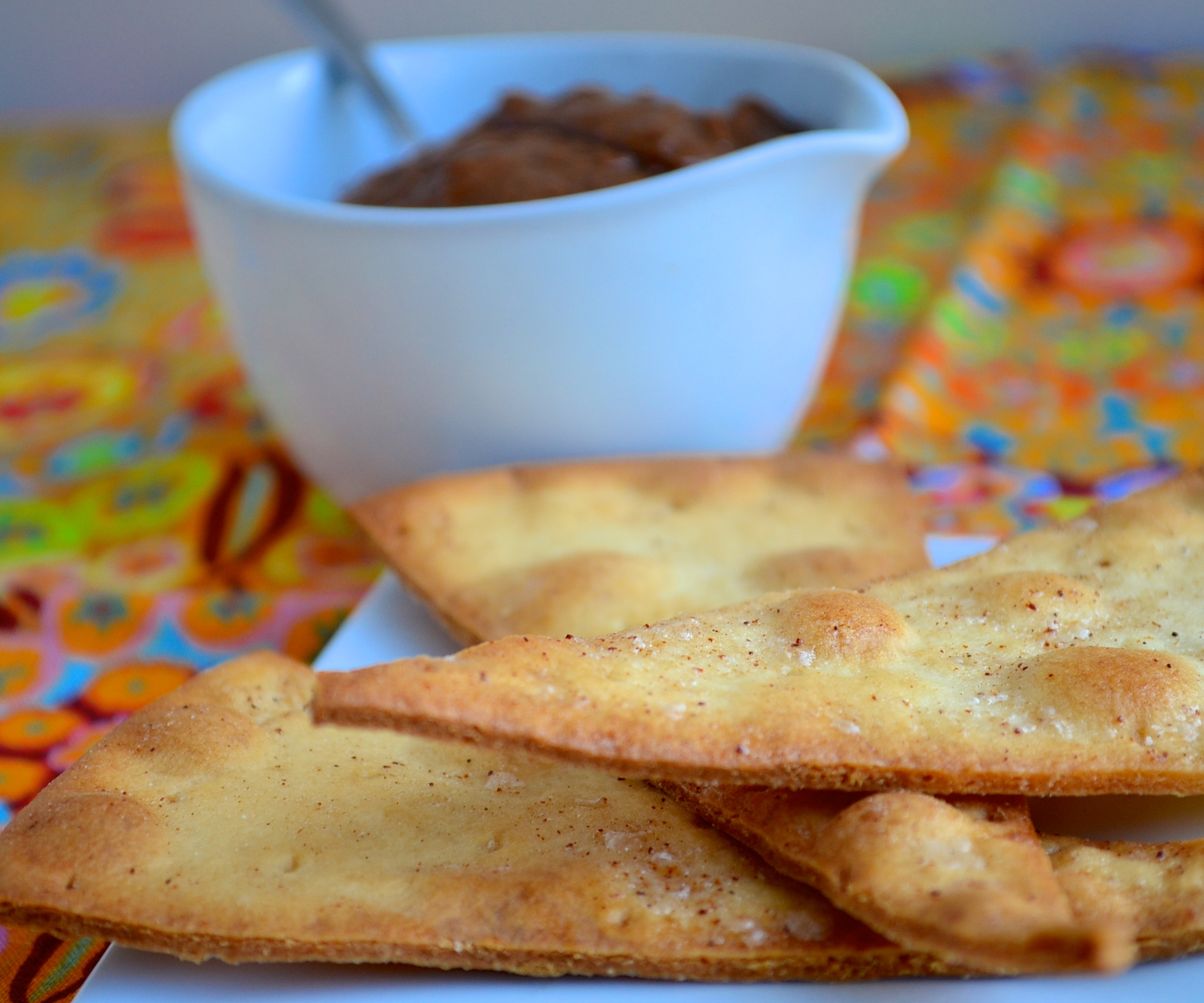 Gluten free pizza chips with chocolate peanut butter dip