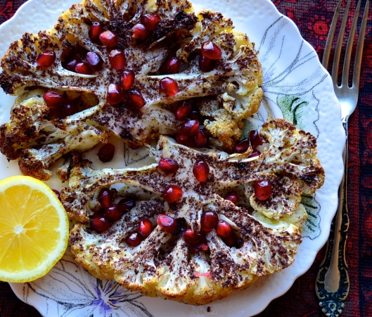 Roasted Cauliflower with Sumac and Pomegranate